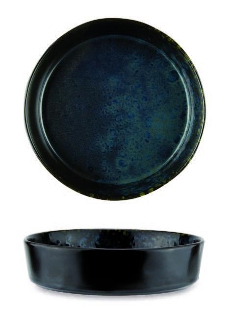 Piatto fondo color nero con puntini reattivi blu