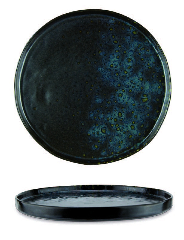 Black deep charger plate with blue reactive dots - Stoneware