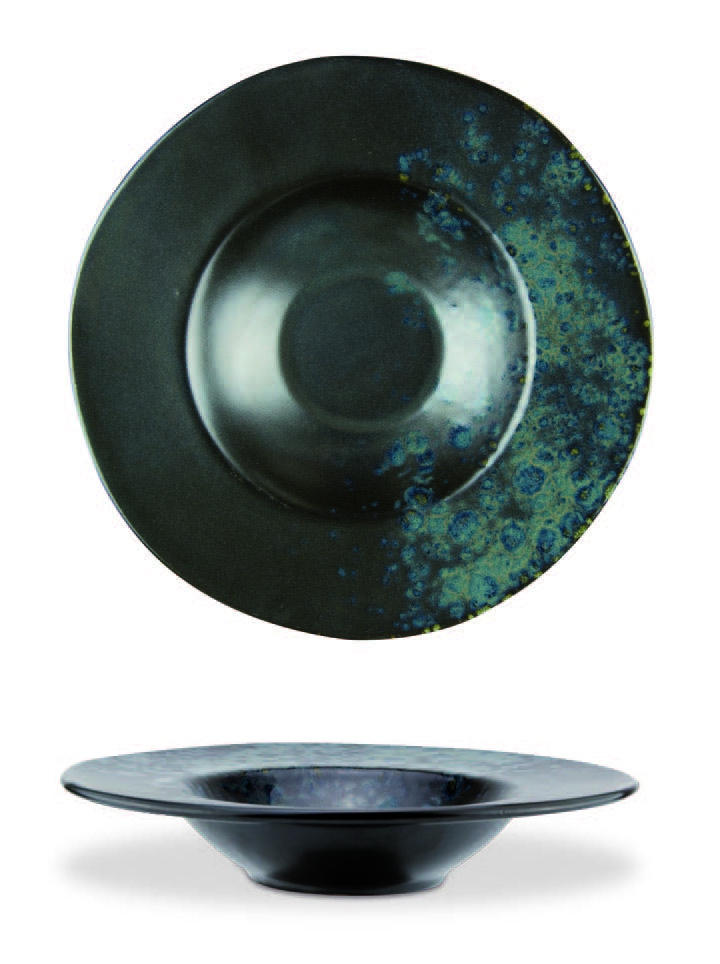 Black pasta bowl with blue reactive dots - Stoneware