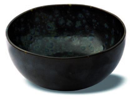 Schwarze hohe Schale mit blauen reaktiven Punkten - Steingut