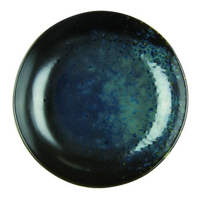 Schwarze hohe Schale mit braunen reaktiven Punkten - Steingut