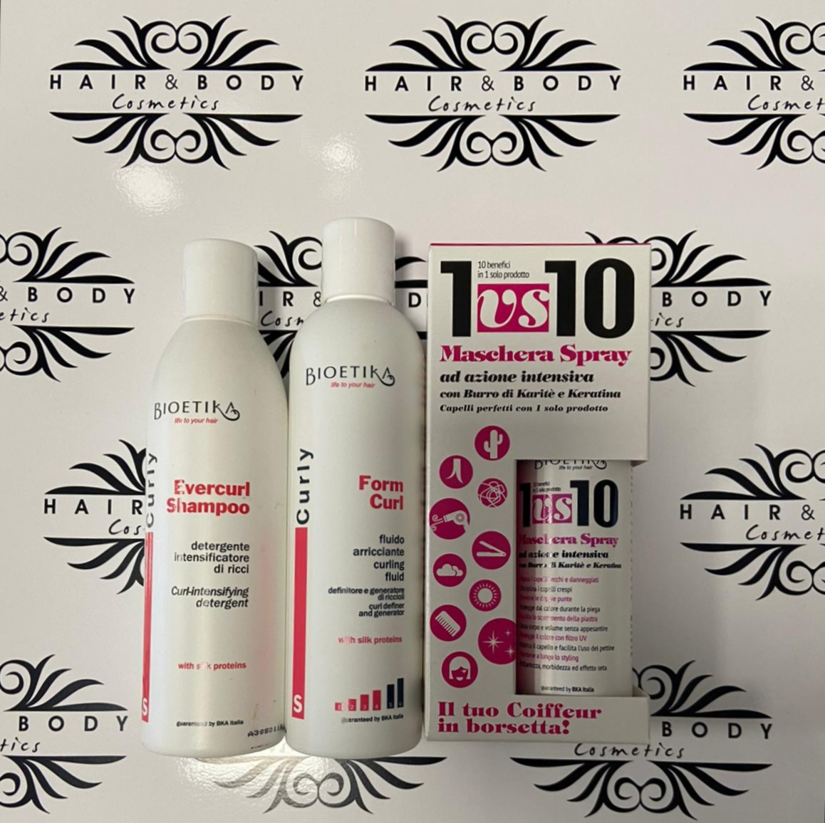 Bioetika Maschera Spray 150ml+Fluido Arricciante 250ml+Shampoo 250ml