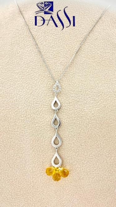 Girocollo in oro bianco 18kt con pendente in topazio giallo e diamanti