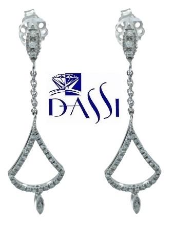 Orecchini pendenti in oro bianco 18 kt e diamanti per carati totali 0.41 kt