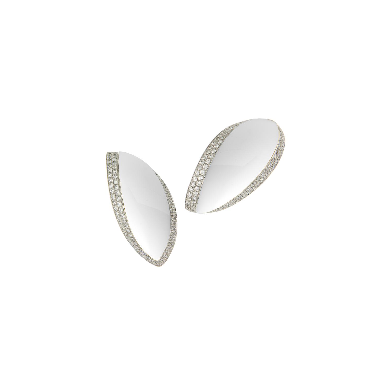 Orecchini cm.4 in oro bianco,kokolong e diamanti