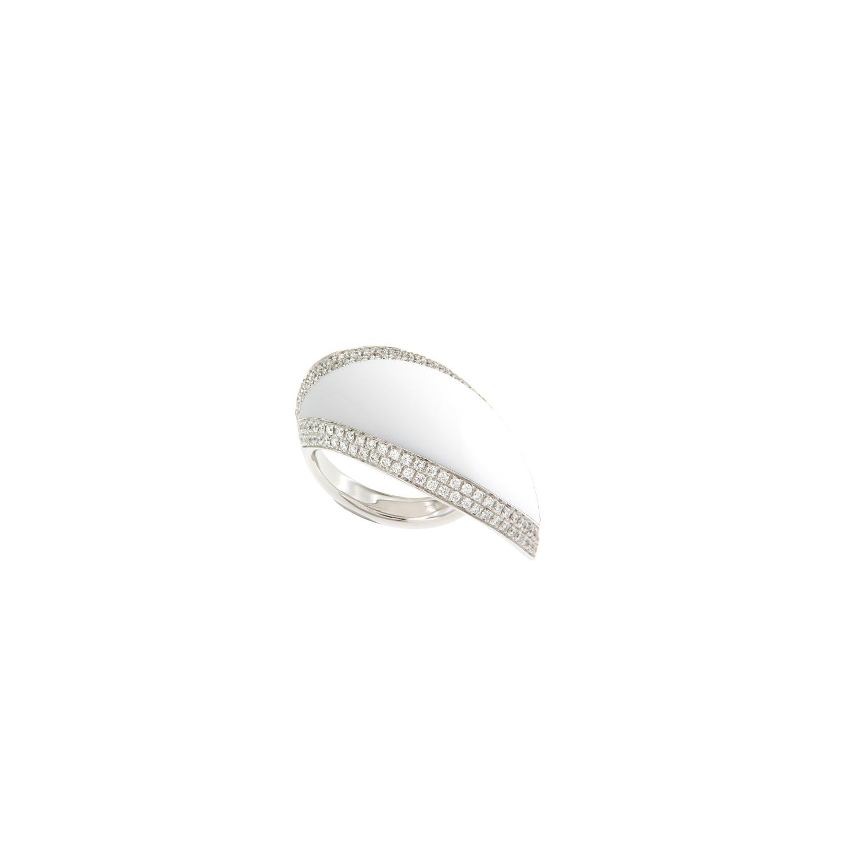 Anello in oro bianco, kogolong e diamanti