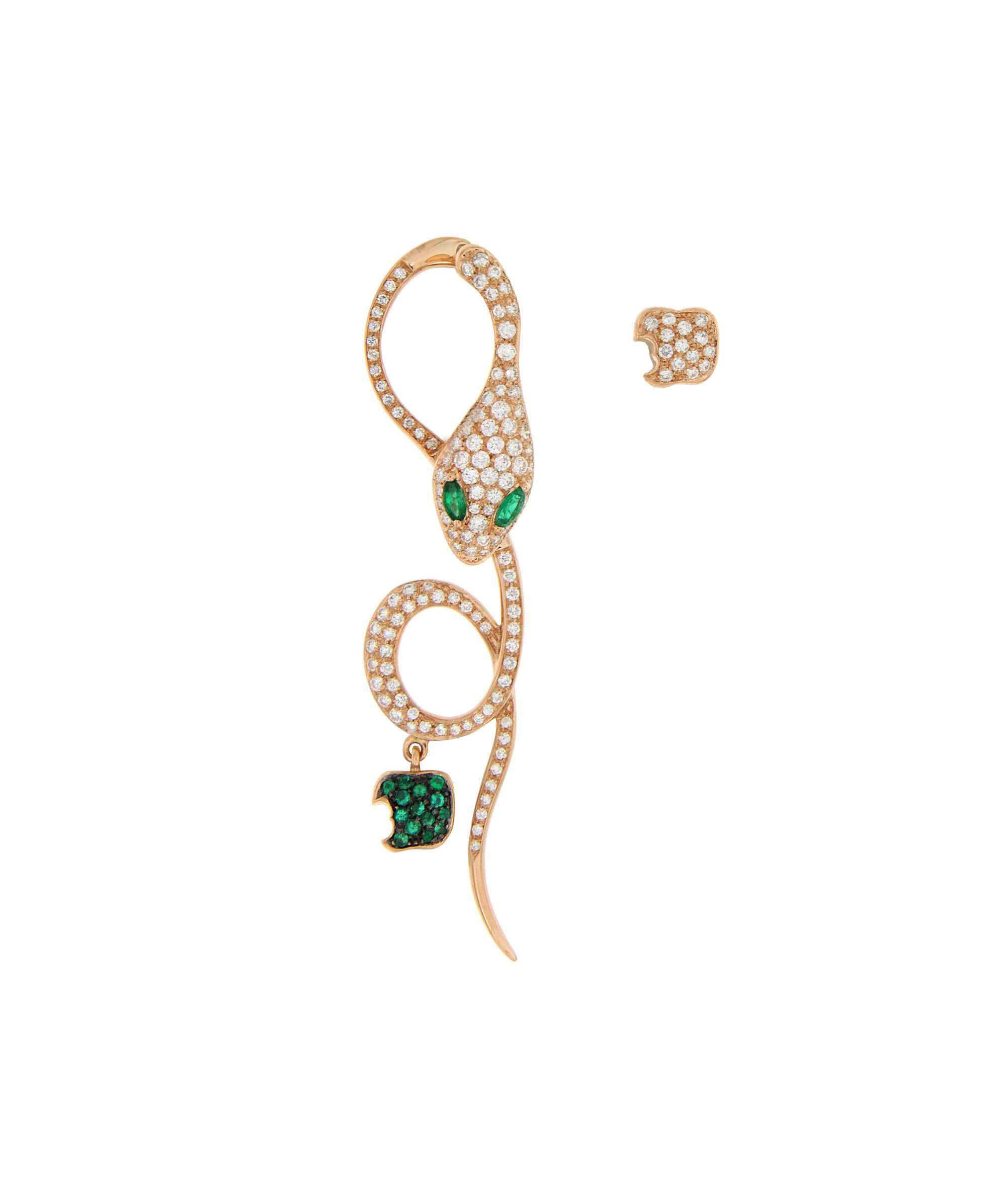 Monorecchino in oro rosa, diamanti e smeraldi