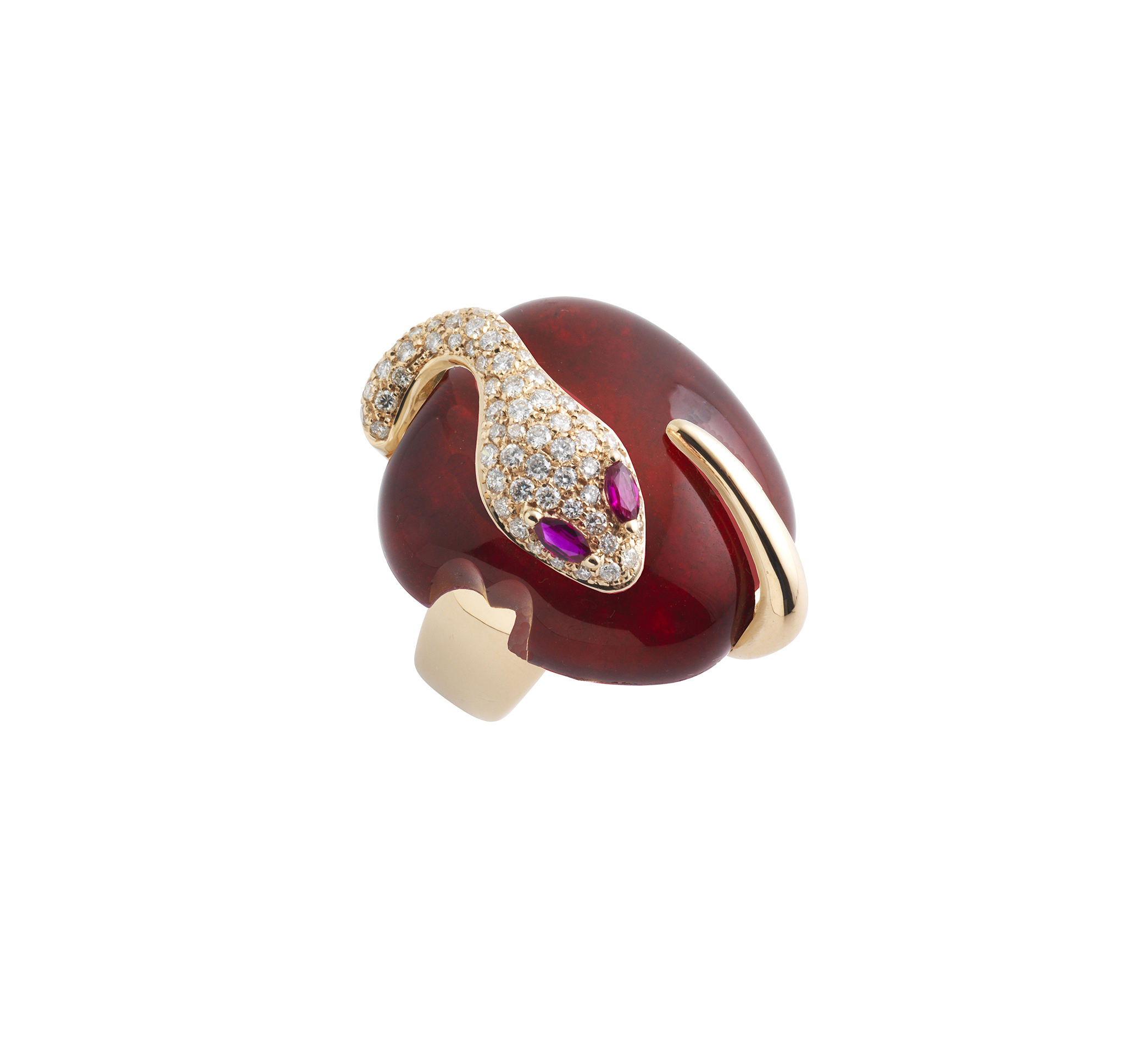 Anello in oro rosa, diamanti, rubino e rubini