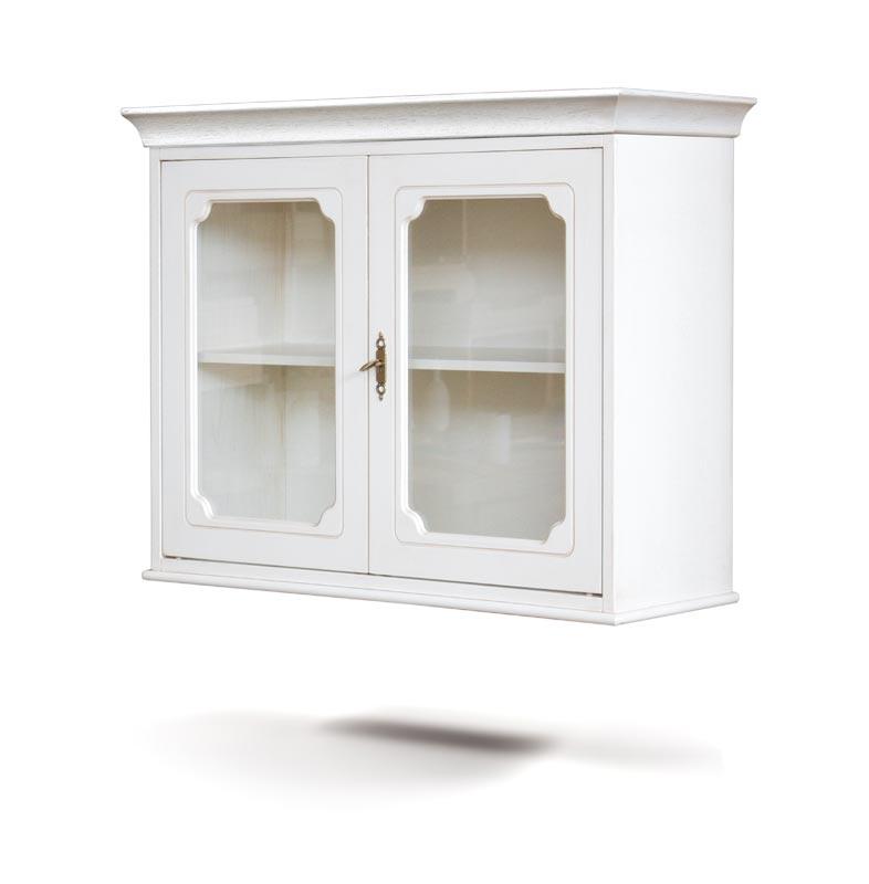 Vitrina de pared madera laqueada 2 puertas de vidrio
