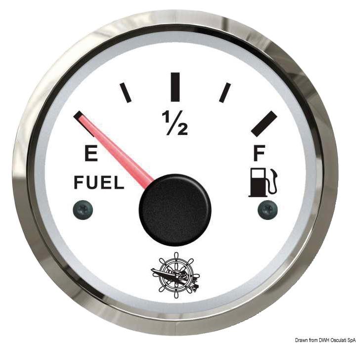 Indicatore carburante 10-180 Ohm bianco/lucida - Osculati