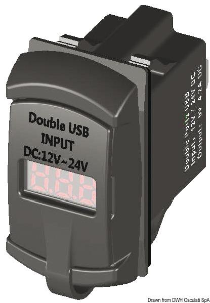 Presa c/USB e voltmetro - Osculati