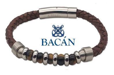 Elegante bracciale da uomo in cuoio marrone o verdone intrecciato e anelli in acciaio