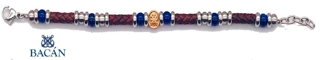 Elegante bracciale da uomo in cuoio bordeaux o blu con intercalate pietre naturali e blis in acciaio