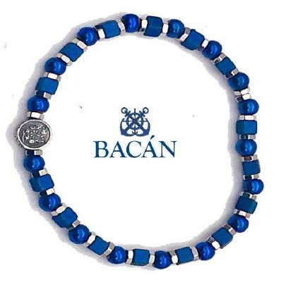 Elegante bracciale elastico da uomo composto da anelli e perle in pietra naturale