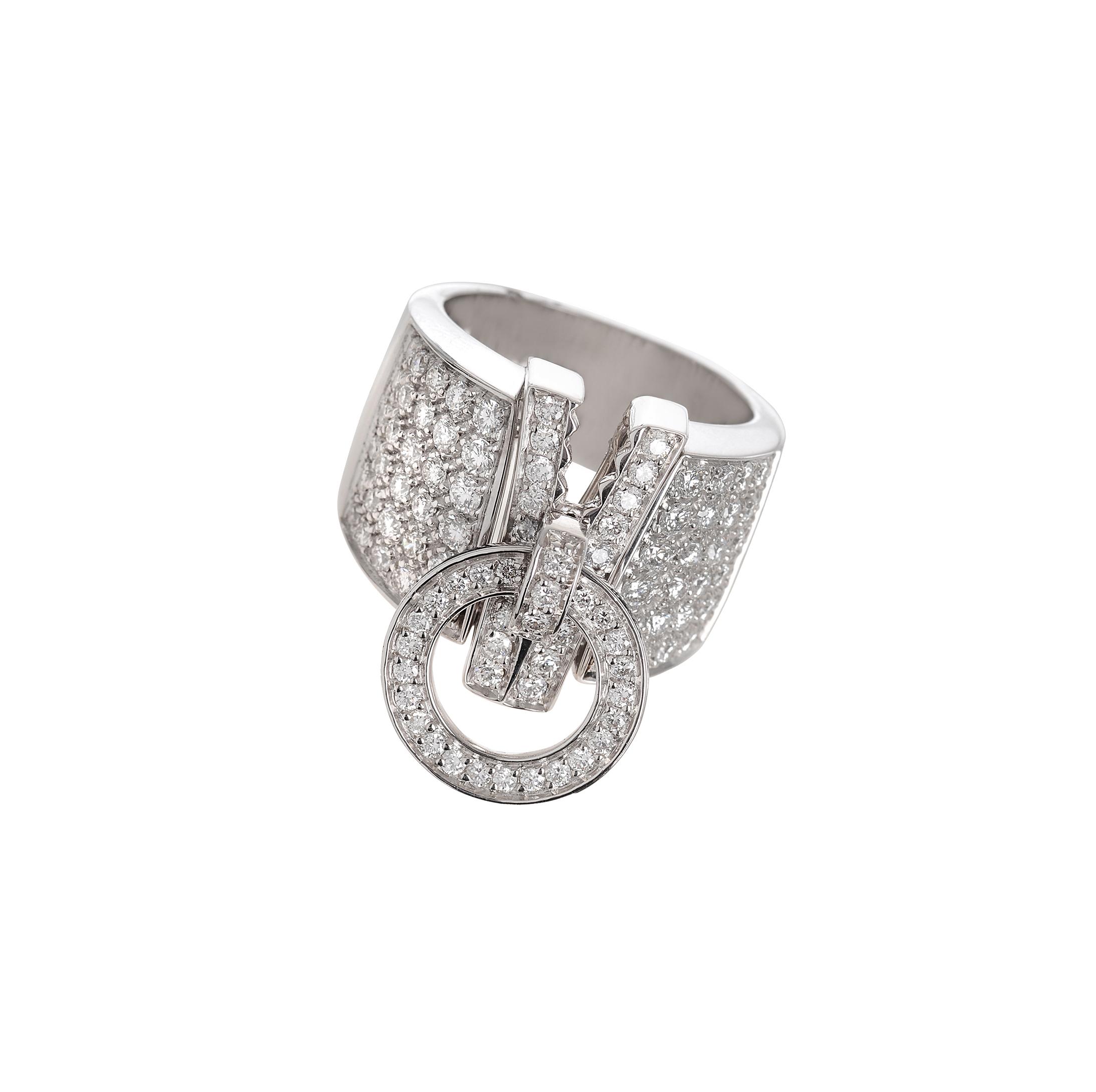 Anello Zip in oro bianco e diamanti