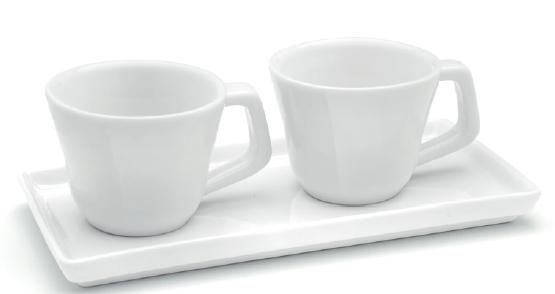 GIANNINI SET 2 TAZZINE CAFFE' CON VASSOIO RETTANGOLARE 6541
