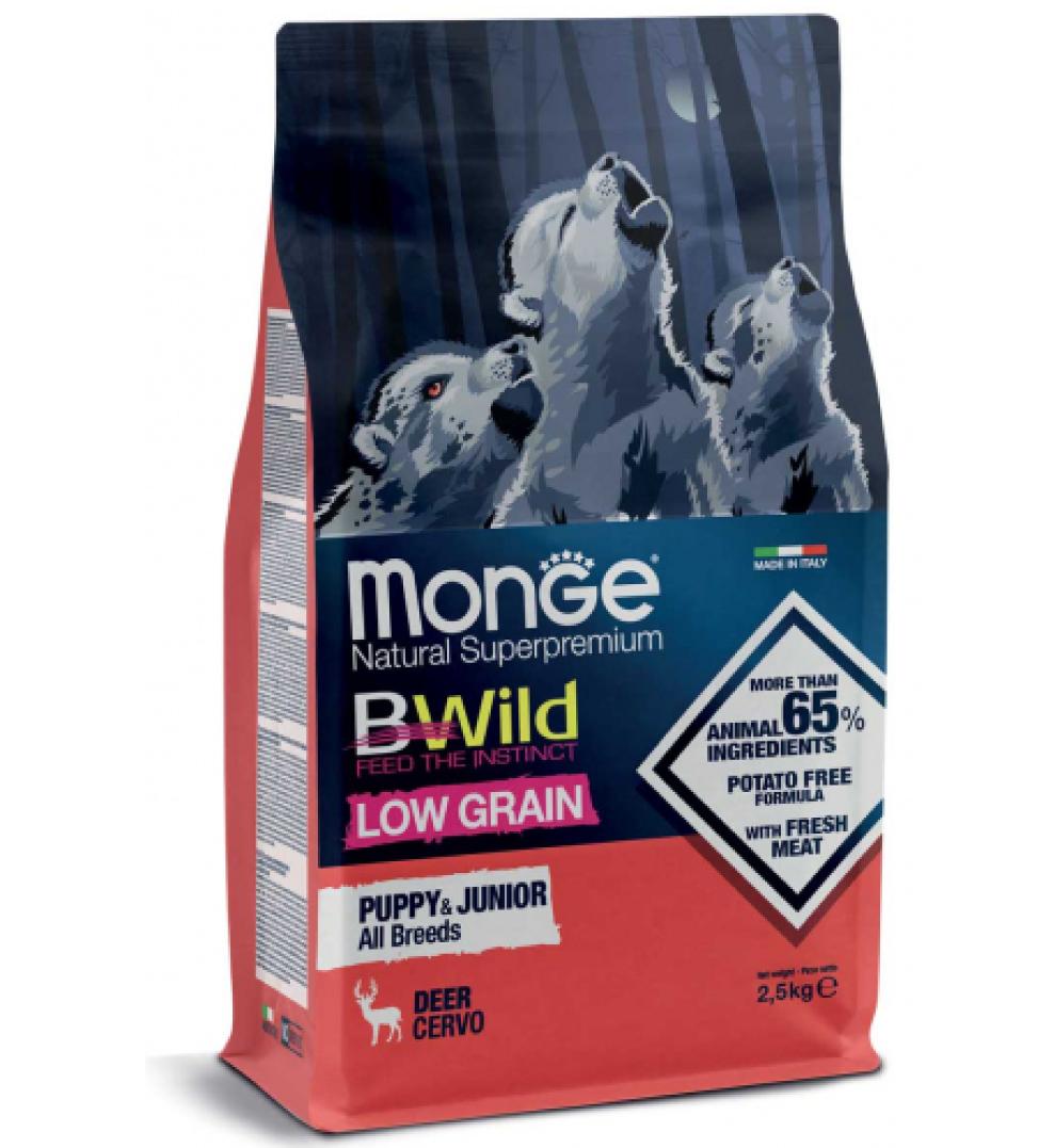Monge - BWild Low Grain - All Breeds - Puppy&Junior - Cervo - 2.5 kg
