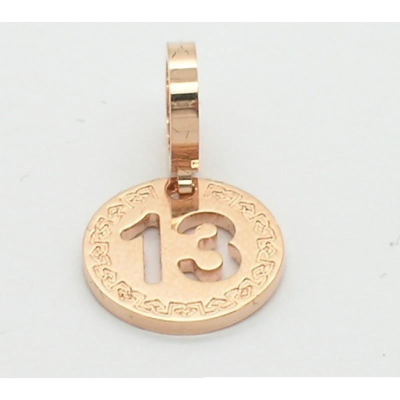 Charm unisex medaglia numero 13 Rebecca. Collezione Myworld charms simboli.