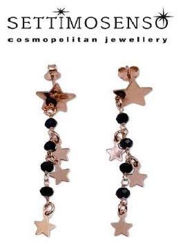 Orecchini pendenti in argento rose' con una stella a lobo e spinelli neri e stelline