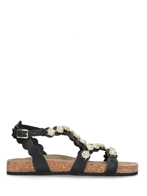 Sandalo pelle nera sughero STRATEGIA