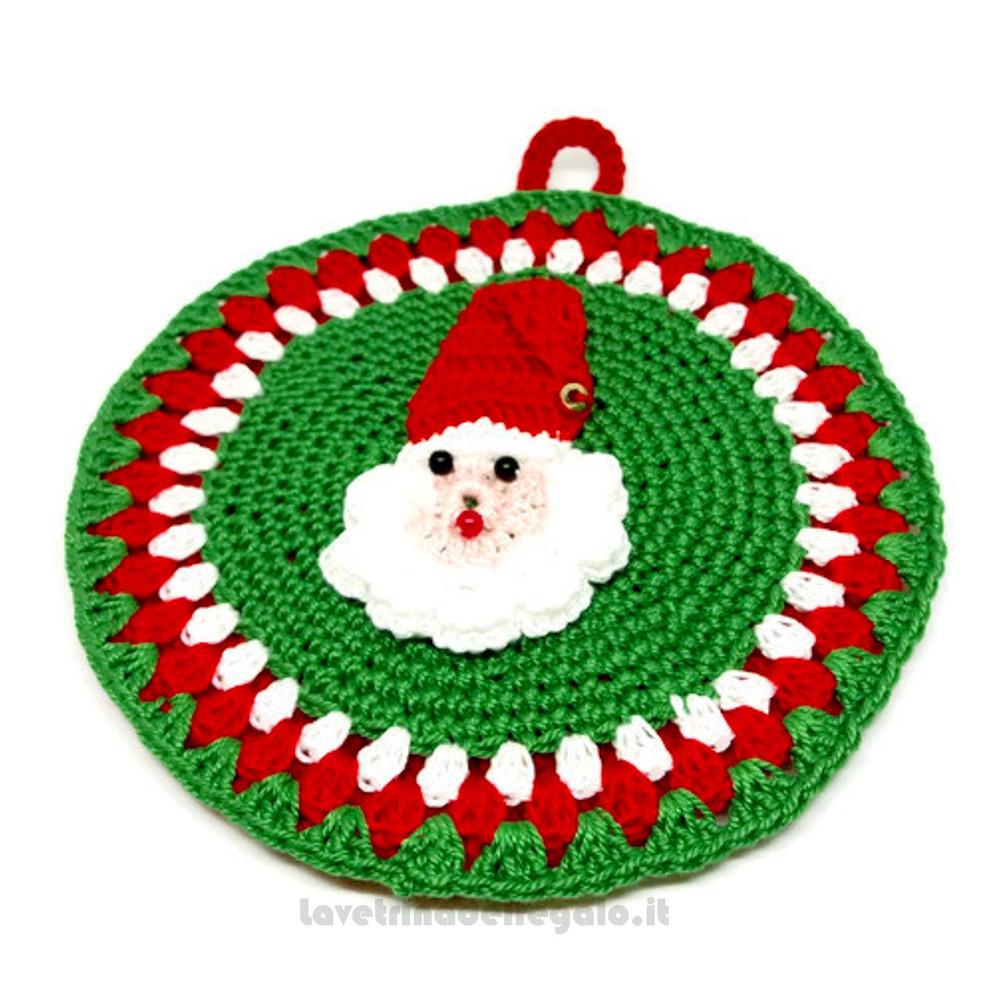 Presina rotonda con Babbo Natale ad uncinetto 12,5 cm Handmade - Italy