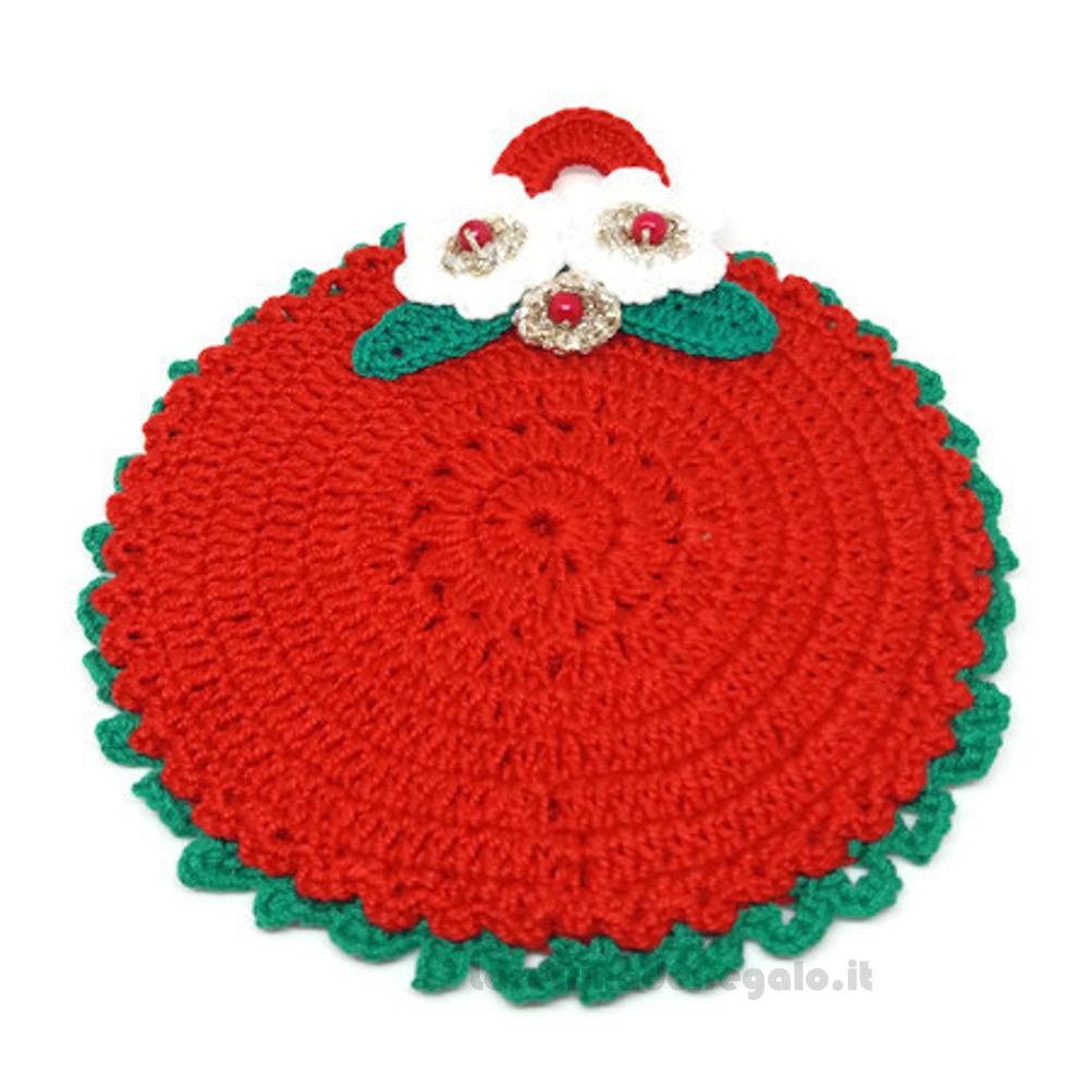 Presina natalizia rotonda rossa ad uncinetto 14 cm Handmade - Italy