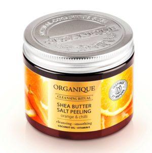 Organique Peeling Salino al Burro di Karitè Arancia & Chili 200ml + sfera da bagno arange & chili