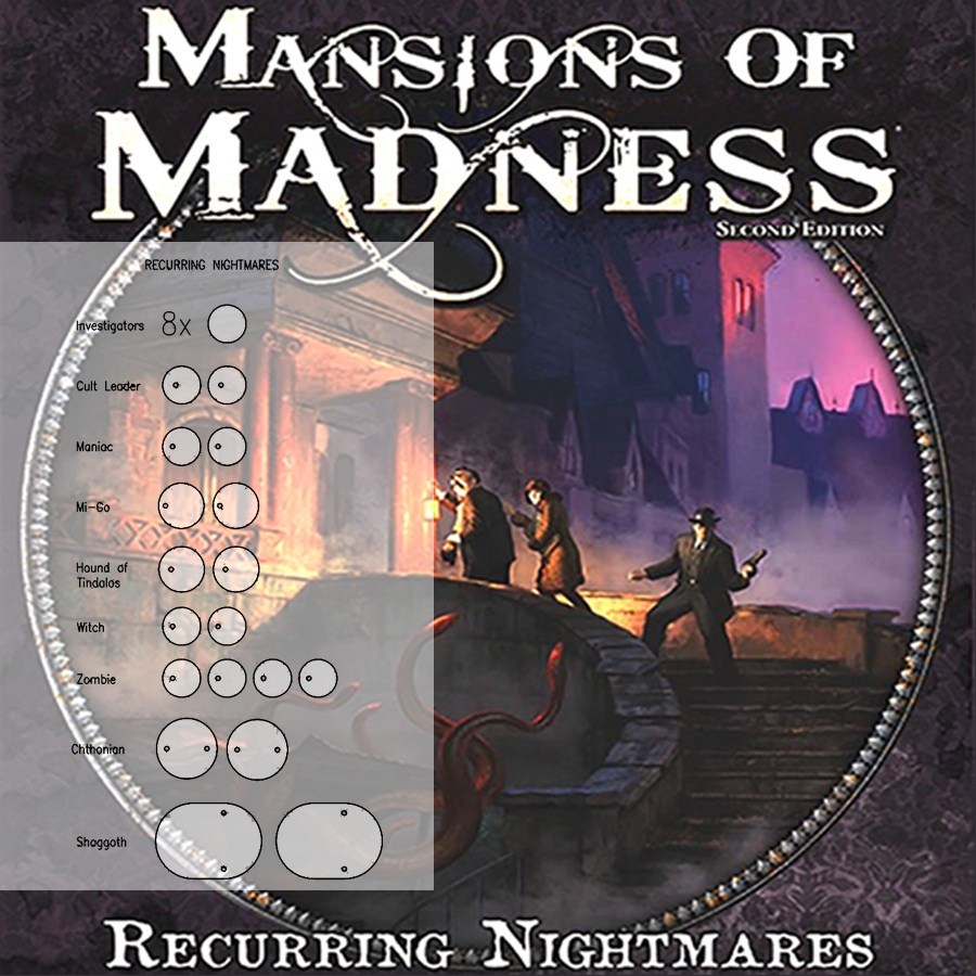 Mansions of Madness 2nd Ed. Recurring Nightmares Clear Bases (x11)