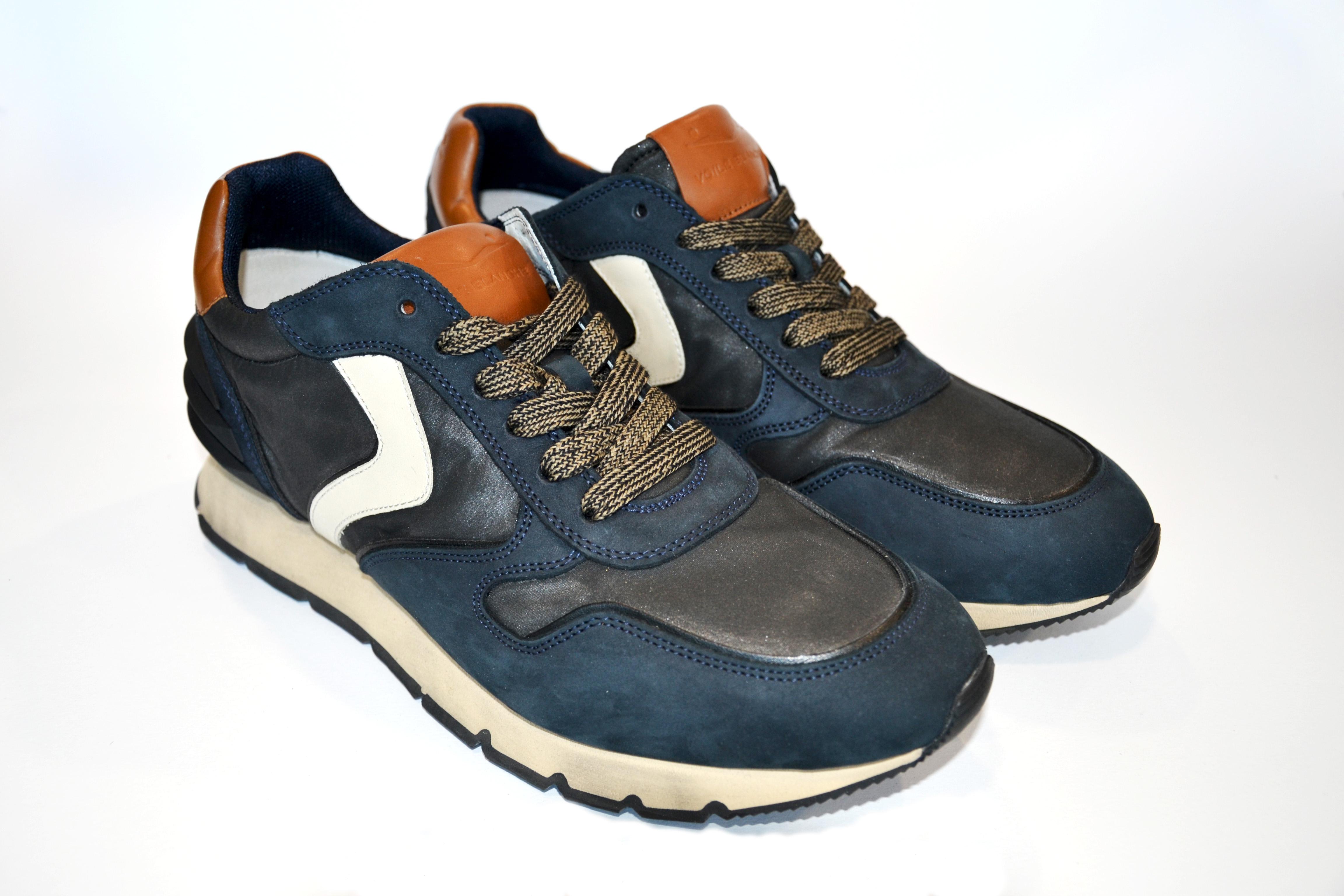 Voile Blanche Scarpa Uomo Sneakers Liam Power Nabuk/Waxed/Nylon Blu/Nero/Denim 0012014143.1C35
