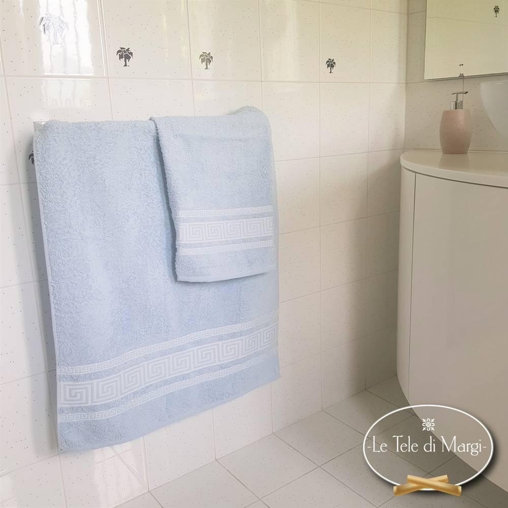Coppia asciugamani Grece azzurro