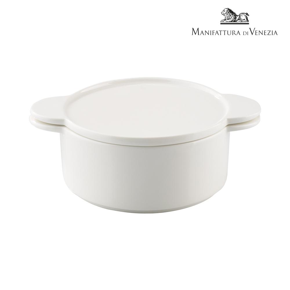 Pirofila con coperchio rotonda bianca cm 16 | PYRO SURPRISE