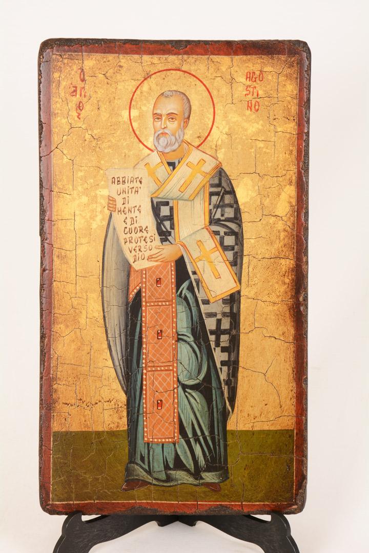Icona dipinta S. Agostino cm 16x28