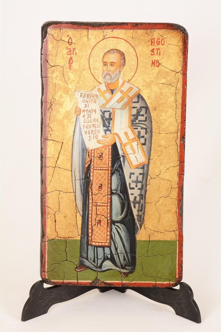 Icona dipinta S. Agostino cm 14x22