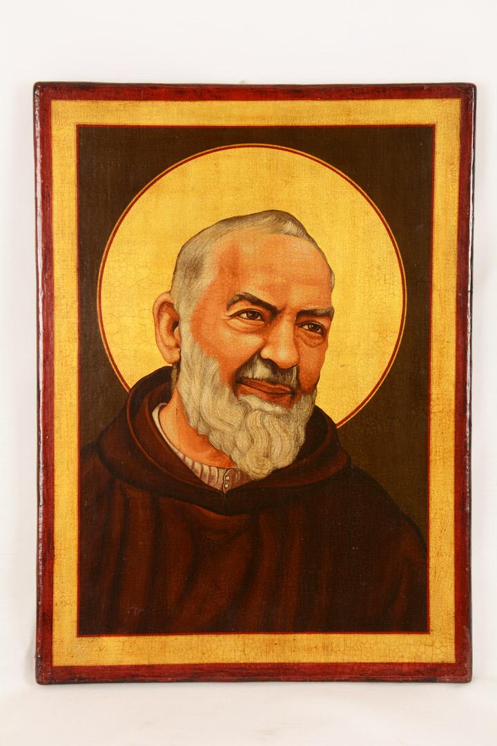 Icona dipinta S. Pio cm 35x45