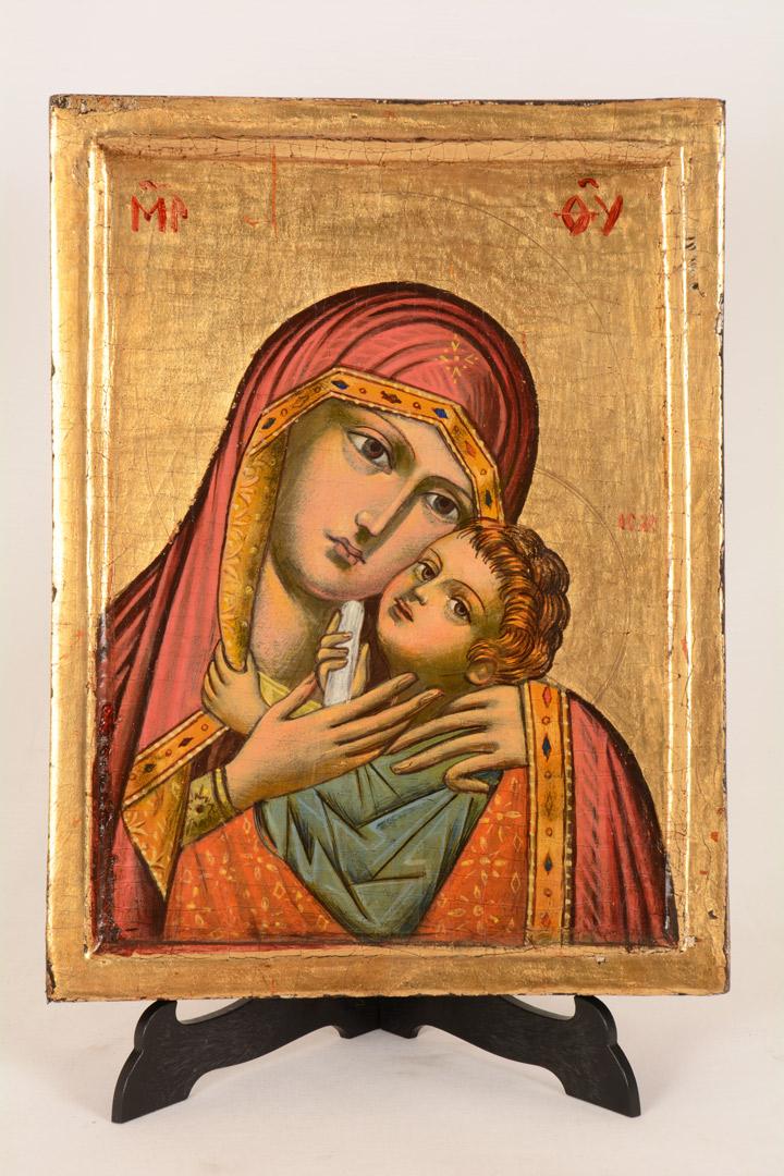 Icona bulgara Madonna con Bambino cm 25x19