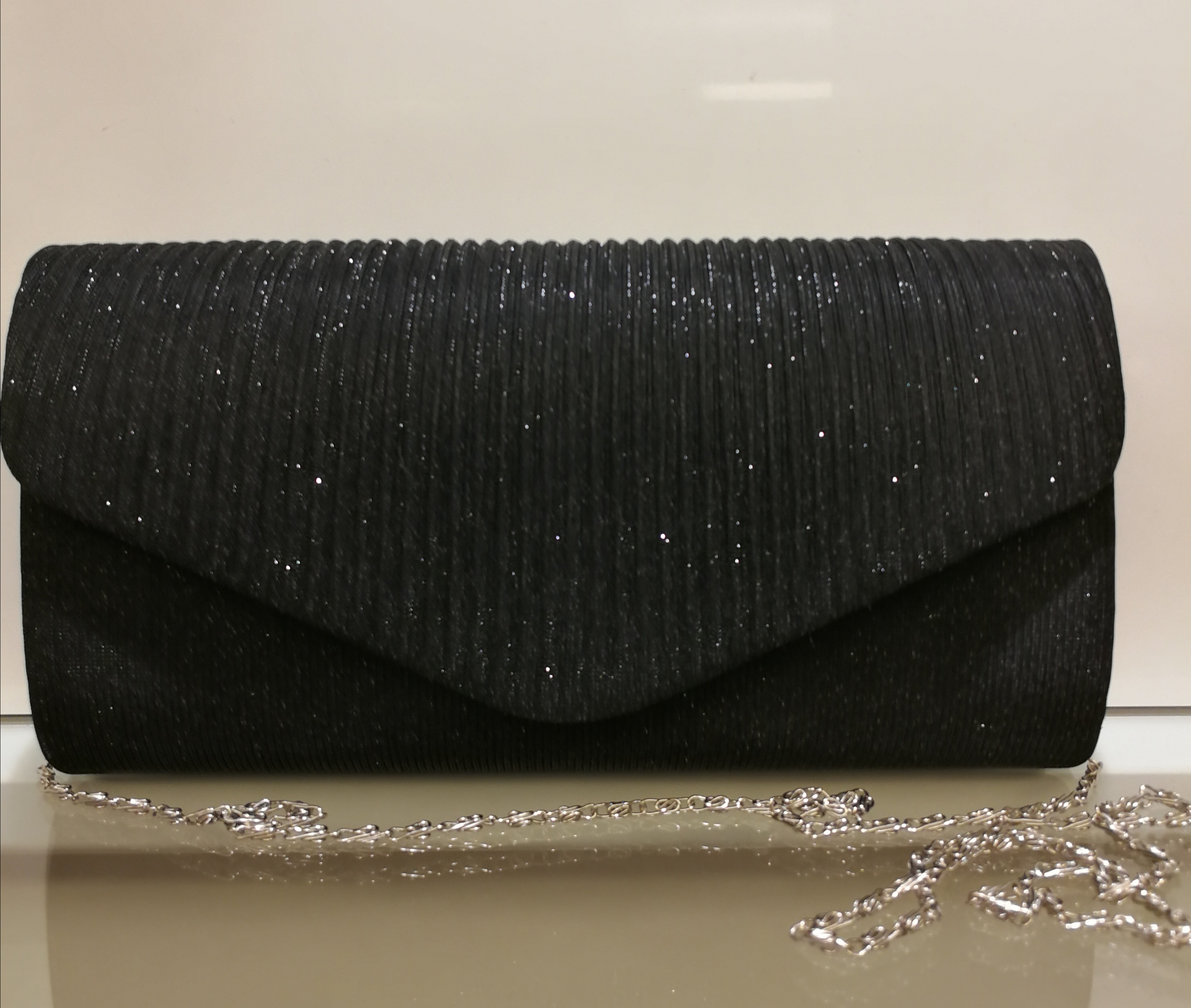 Pochette clutch glitterata nera