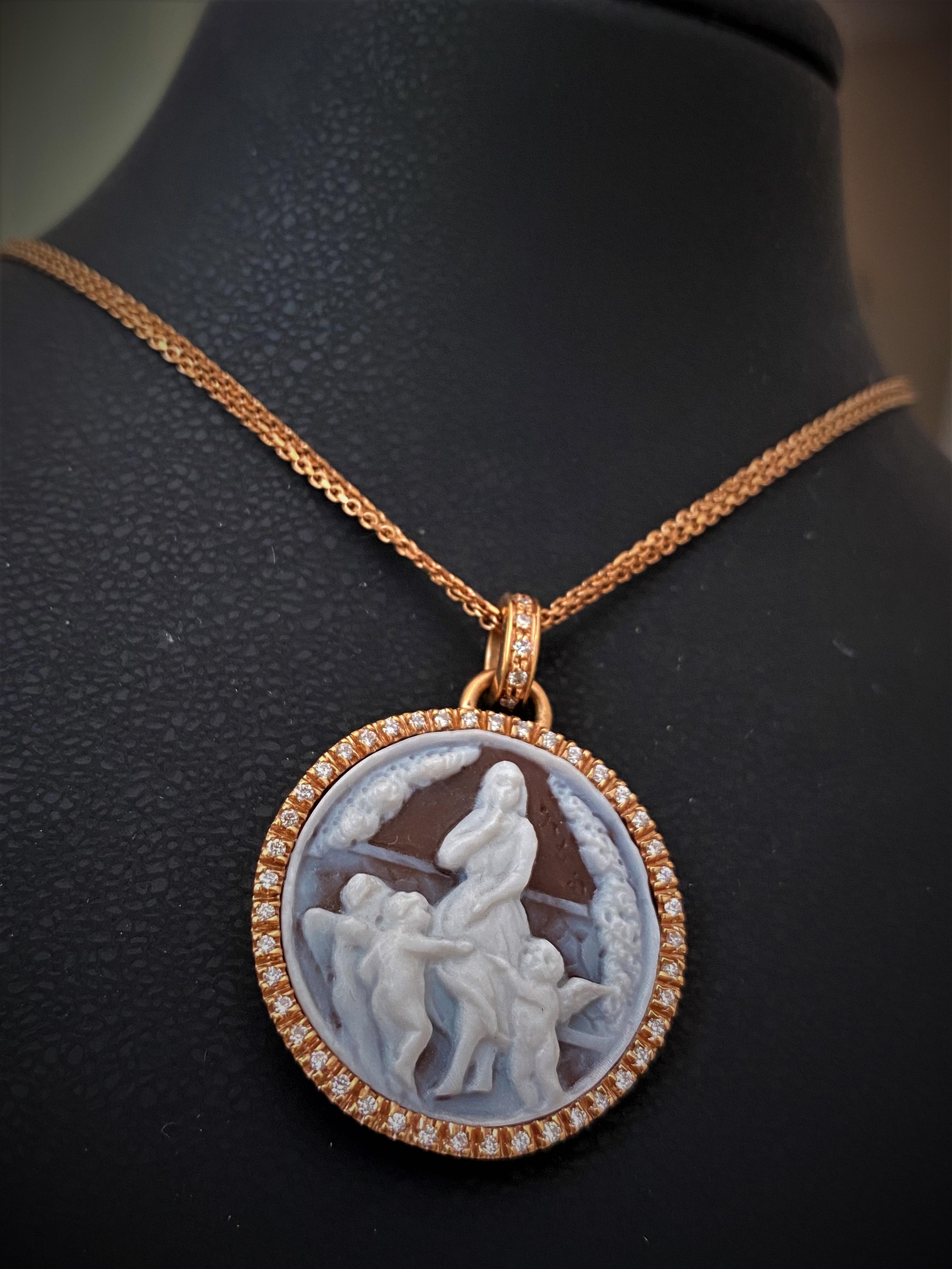 Collana girocollo in oro rosa pendente cammeo e diamanti