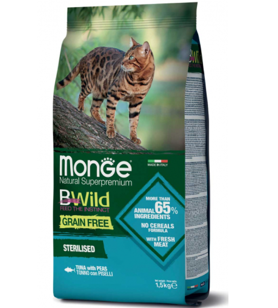 Monge Cat - Bwild Grain Free - Sterilised - Tonno con Piselli - 1.5kg