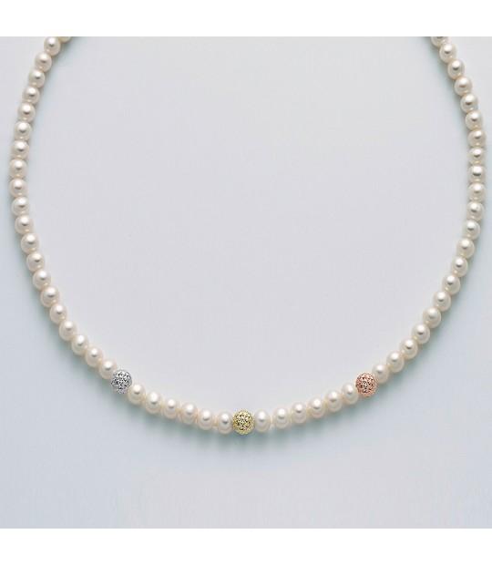 Collana Miluna Perle Oro Brillante da Donna