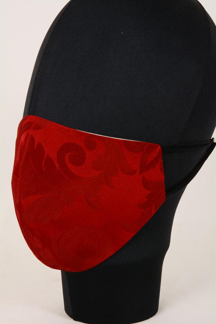 Mascherina in Tessuto Damasco rosso Lavabile