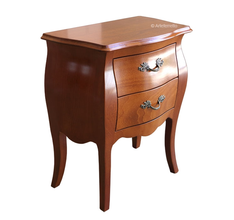 Rounded nightstand 2 drawers