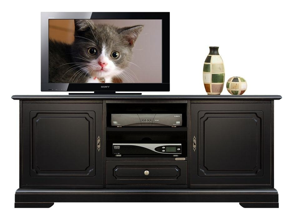 Living room black TV stand in wood