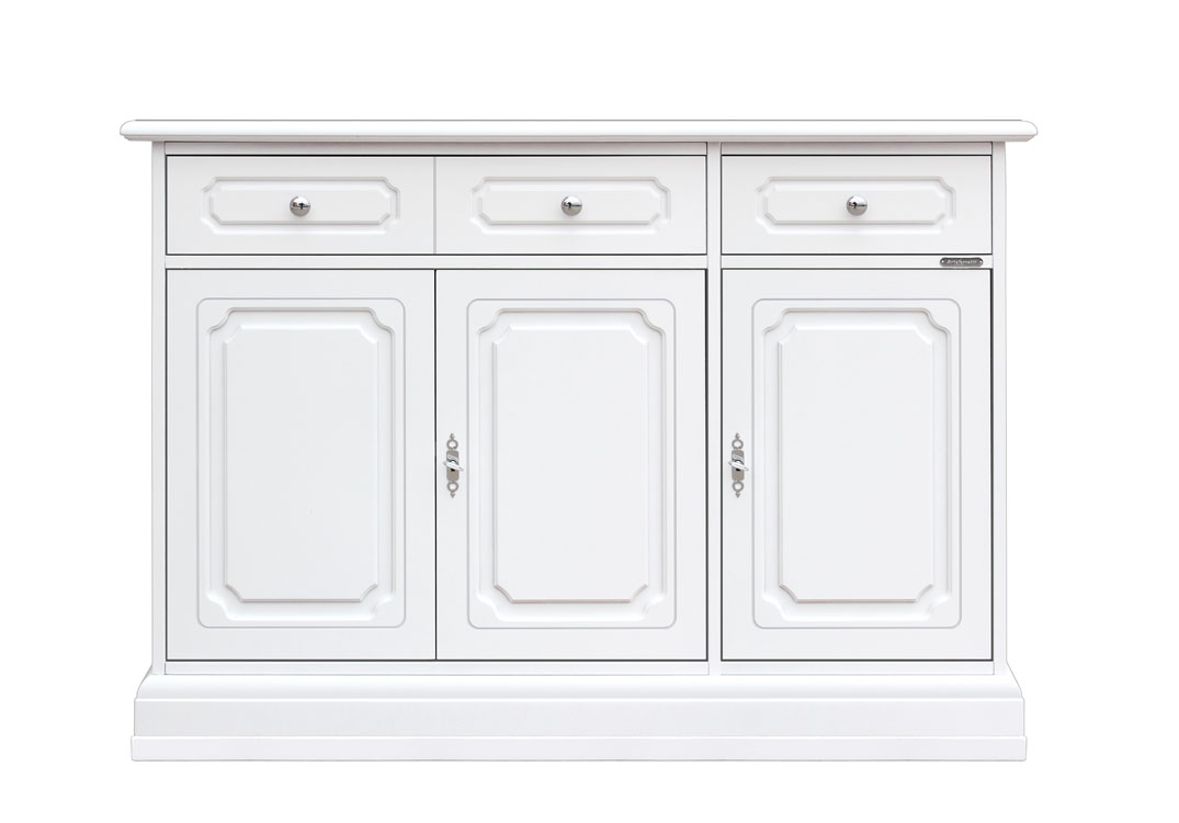 Dining room sideboard with 3 doors and 2 stylized drawers