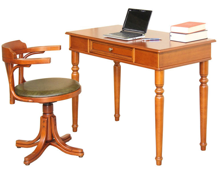 Wood desk and upholstered swivel chair