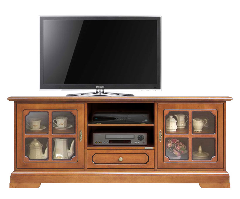 Low TV cabinet in classic style wood and glass