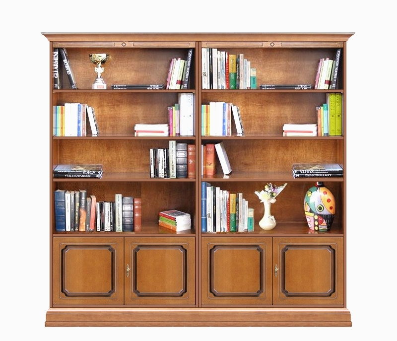 Double wide bookcase with doors