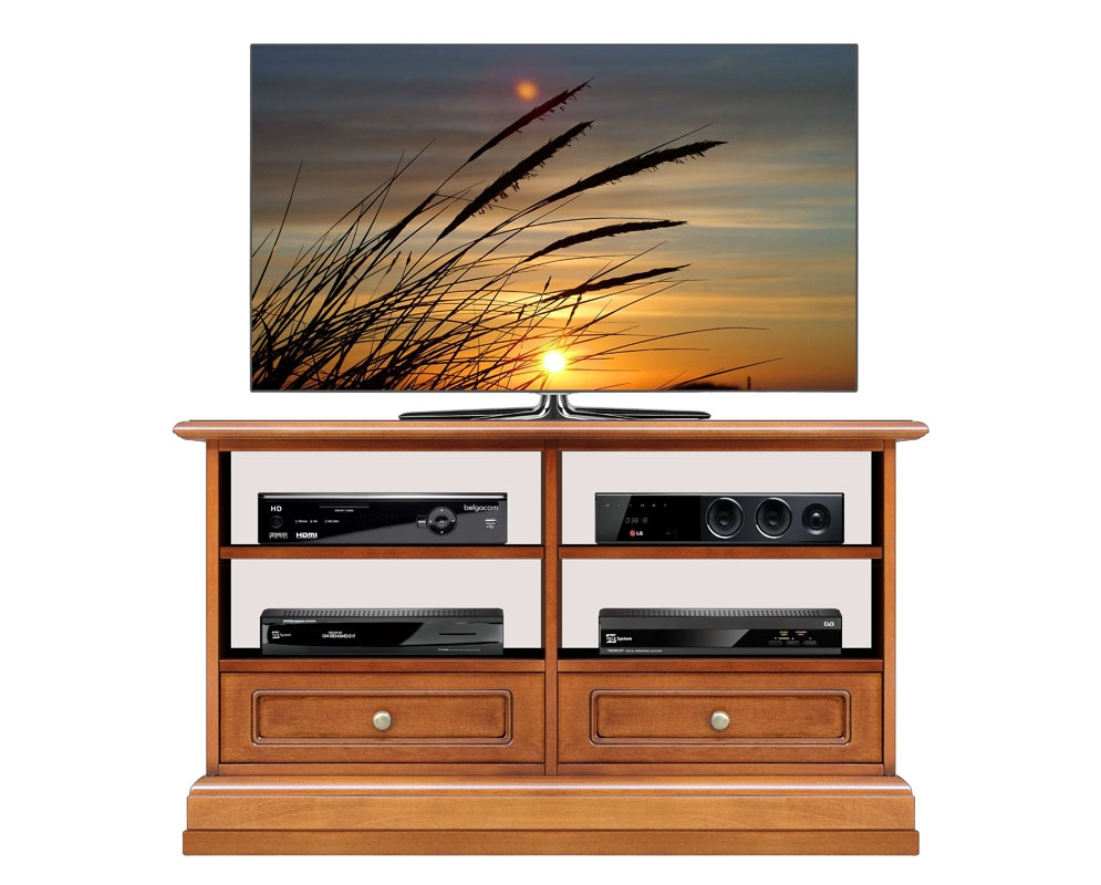 2 drawers TV unit in wood for living room