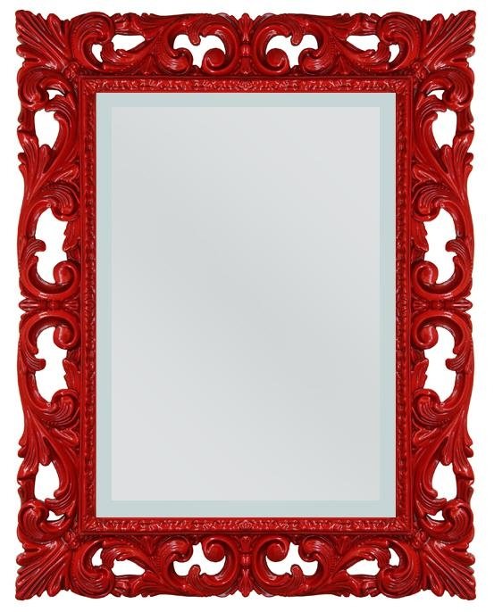 Red framed Venetian mirror
