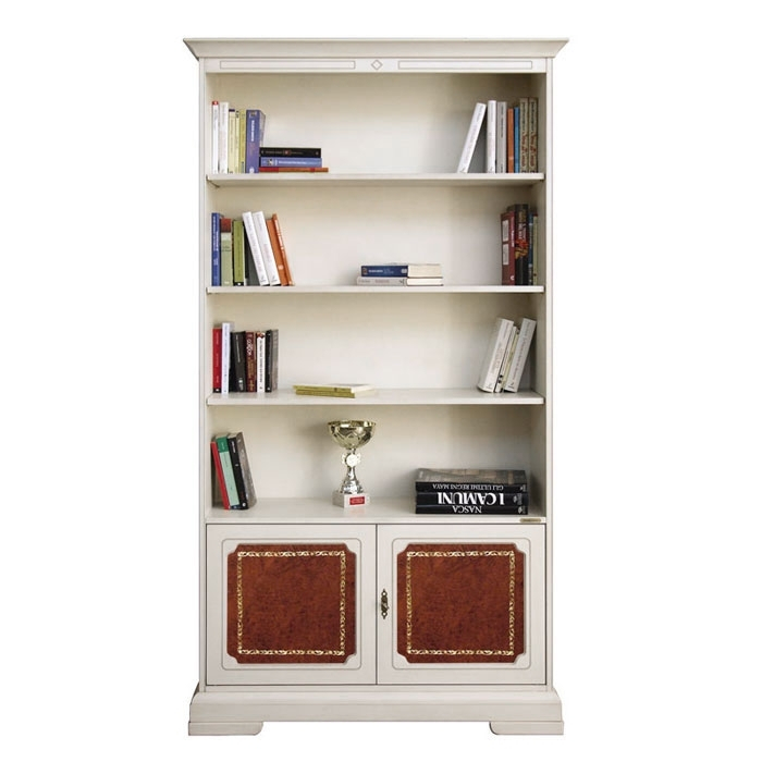 Tall bookcase with leather doors