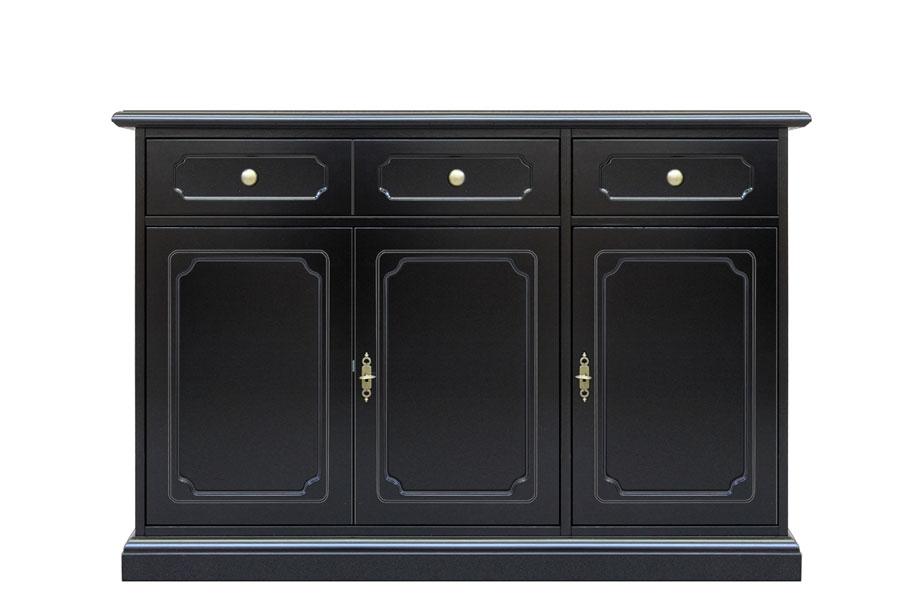 3 door black sideboard buffet